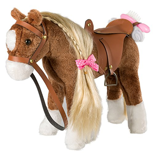 iBonny Stuffed Animal Horse Pretty Plush Toy Pretend Play Horse 11 inches Brown