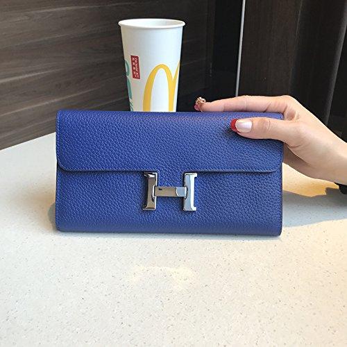 GUNAINDMX Geldbörse Geldbeutel Portemonnaie Brieftasche Lang Kupplung Kupplung Brieftasche,Elektro-Optik Blau
