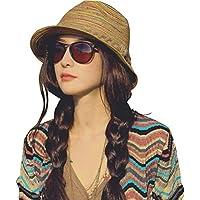 Sunbohljfjh Sonnenhut-weiblicher bunter Regenbogenmuster-Freizeitstrohhut großer Sonnenschirm-Strandhut