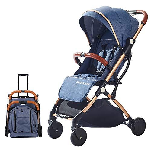 SONARIN Leicht Kinderwagen,kompakt Reise Buggy,einhändig faltbar,Fünf Punkt Gurt,ideal für Flugzeug(Blau)