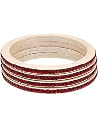 Bangle Set | Beige Color | Made Of Lac | Red Colour Stone Work | Bangle Set For Women (Red Colour) - By The Lakh