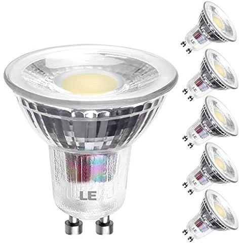 LE Pack de 5 bombillas LED Spot, luz de apertura estrecha, ángulo de haz 30°, MR16, casquillo GU10, consumo 5W, equivalentes a bombillas halógenas de 60W, flujo luminoso 420lm, luz diurna