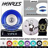 Henrys Viper YoYo - Profi YoYo mit AXYS-Systemachse Speed Explosion mit Präzisions-Kugellager + Yoyo-Trickheft + Lernen DVD & Tasche! Pro YoYos für Kinder und Erwachsene! (Blau)