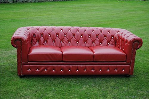 Potteries Antique Centre Marke New Rot Bycast Leder mit Chesterfield 3-Sitzer-Sofa Sofa.