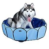 WFH Hund Pool Faltbare Pet Pool Portable Pool Polsterung Pool Badewanne in Safty PVC (110 × 31 cm, Blau)