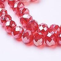 Cuentas de cristal galvanizadas de 10 hebras, chapado en color AB, facetado de abacus, rojo, 8 x 6 mm, 72 unidades/banda