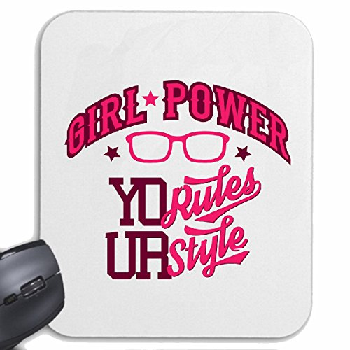 Reifen-Markt Mousepad (Mauspad) Girl Power Nerd Brille NERDBRILLE Geek Video Games Champions League Videospiele Geek LANPARTY für ihren Laptop, Notebook oder Internet PC (mit Windows Linux usw.) in W