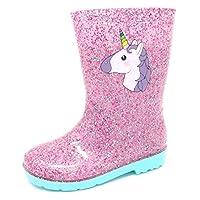 Girls Unicorn Glitter Sparkle Welly Wellington Waterproof Boot Size 6,7,8,9,10,11,12 in Pink