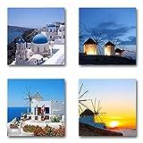 Santorin Griechenland - Set A schwebend, 4-teiliges Bilder-Set je Teil 19x19cm, Seidenmatte moderne Optik auf Forex, UV-stabil, wasserfest, Kunstdruck für Büro, Wohnzimmer, XXL Deko Bild