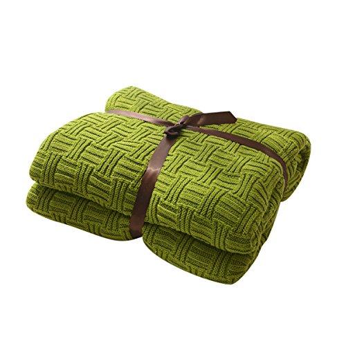 MYLUNE HOME 100% Baumwolle Luxus Stilvolle Strickdecke für Fernsehen oder Nap auf dem Stuhl, Sofa und Bet(180x200cm,Green)