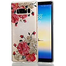 Samsung Note 8 Funda Alfort Carcasa Samsung Note 8 Transparente Case Cover Con Polvo de Flash Carcasa Silicona TPU Suave Protectora Funda para Samsung Galaxy Note 8 ( Flores blancas )