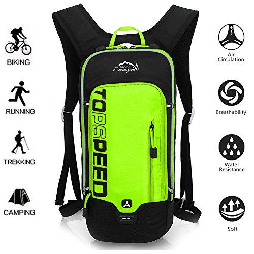 OUTDOOR LOCAL LION 10L Zaino Idratazione Ultraleggero per Alpinismo Escursionismo Zainetto per Ciclismo Backpack di campeggio Sport Outdoor Unisex per Ciclismo,verde