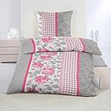2 tlg. Biber Winter Bettwäsche ,135x200 + 80x80 mit Reißverschuss, / grau pinkrot weiß, Rosen mit Karo Muster / Winterbettwäsche