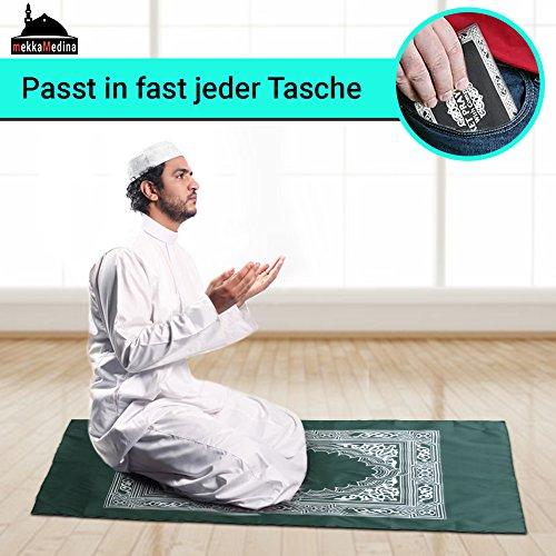mekkaMedina TOP QUALITÄT islamischer Gebetsteppich Reiseteppich Outdoorteppich für unterwegs mit Kompass Prayer Rug Muslim Teppich WASSERDICHTES MATERIAL … (dunkelgrün)