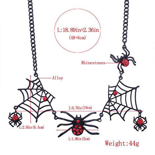 Housesweet Damen Spinnen-Anhänger Halskette Ohrstecker Strass Halloween Cool Piercing Mädchen Charms Schmuck Necklace