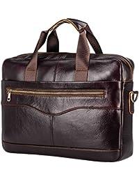26502c43dda7 Men s Leather Briefcase Shoulder Handbag Cross-Body Large Capacity Vintage  Crazy Horse Genuine Leather Messenger