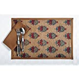 Digitally Printed Faux Silk Place Mats And Napkins Set Of 6,Brown With Maroon