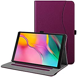 FINTIE Coque pour Samsung Galaxy Tab A 10.1 T510 / T515 2019 - Folio Stand Multi Angles Etui Housse de Protection avec Pochette de Document pour Samsung Galaxy Tab A 10.1 2019, Pourpre