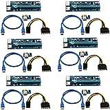 (6 pack) de 6 pines PCI-E IMPULSADO PCI Express - VER 006C - 1X a 16X PCIE tarjeta adaptadora USB 3.0 - Con cable de extensión USB - Tarjeta Gráfica GPU Crypto Minería moneda