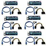 LONGXI 6 Pack 6-pin PCI-E PCI Express Riser -- 1X à 16X PCIE Carte d'adaptateur USB 3.0 - Avec câble d'extension USB - Carte graphique GPU Crypto Currency Mining