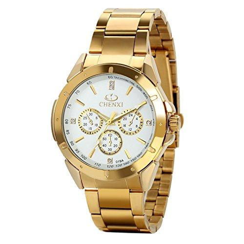 Montre Homme Avaner Montre Bracelet Quartz Grand Cadran --Affichage Analogique--Bracelet Acier Inoxydable Bracelet Montre Or