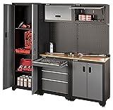 Stahlmayer Werkbank mit Werkzeugschrank | höchste Qualität | Profi Werkstatteinrichtung, Farbe:Schwarz