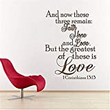 wandaufkleber baum baby Wall Decal Quote- Faith Hope Love The Greatest Of These Is Love - Religious Wall Decal - 1 Corinthians 13 Bible Verse Wall Sticker Letters