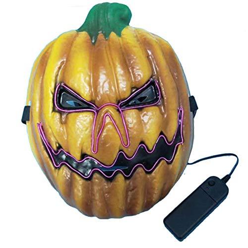 S-tubit Unisex Kürbis-Maske mit Beleuchtung, Halloween-Kostüm, Party-Requisiten, Kürbis-Kopf mit LED-Licht, Fluoreszierende Kürbis-Dekoration, Requisiten professionell B