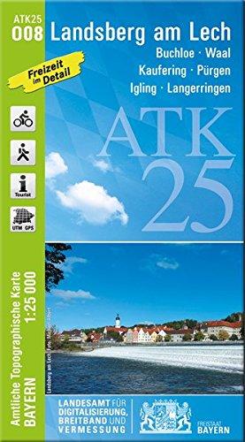 ATK25-O08 Landsberg am Lech (Amtliche Topographische Karte 1:25000): Buchloe, Waal, Kaufering, Pürgen, Igling, Langerringen (ATK25 Amtliche Topographische Karte 1:25000 Bayern)