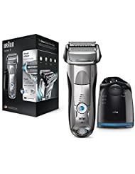 Braun Series 7 7898cc Men's Electric Foil Shaver, Wet and Dry, Pop Up Precision Trimmer, Rechargeable and Cordless Razor with Clean and Charge Station and Travel Case - Silver (2 Pin Plug)