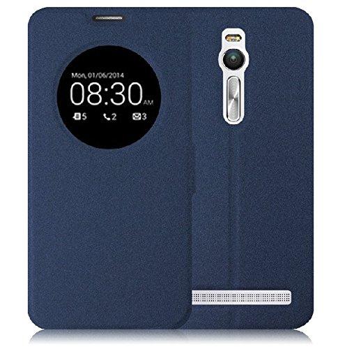Prevoa ® 丨 Asus ZenFone 2 (ZE551ML/ZE550ML) Funda - Flip S- View Funda Cover Case para Asus ZenFone 2 (ZE551ML/ZE550ML) 5.5 Pulgadas Smartphone - Dark blue