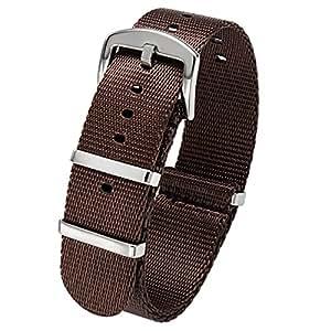 PBCODE Cinturino Orologio Marrone Cintura di Sicurezza Cinturino 20mm Cinturino Nato in Nylon lucido Fibbia in acciaio inossidabile lucido