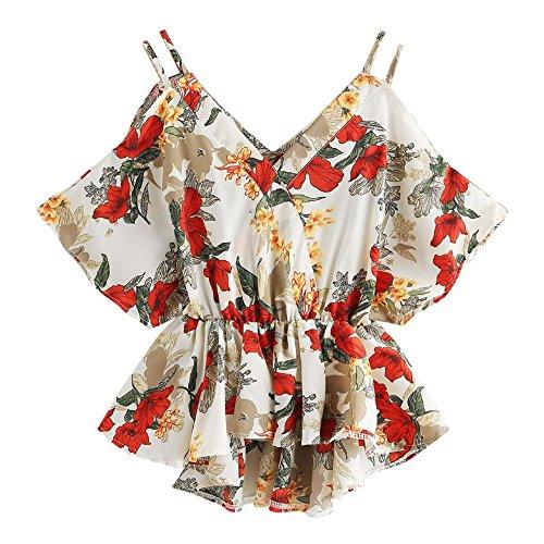 XNBZW Tops Women Plus Size Floral Classic Straps Cold Shoulder Regular Sleeve Blouse Shirt Top Summer Print Dip Hem Tops V Neck Blouse Short Sleeve T Shirt -