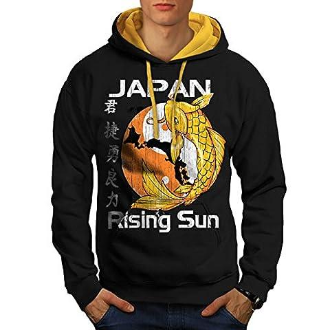 En hausse Soleil Japon koi Carpe Poisson Men XL Sweat à capuche contrasté | Wellcoda