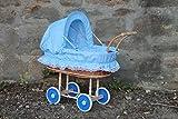 Burkhardt Korbwaren Puppenwagen aus Weide mit Blau Kariert und Holzgriff...Extra Stabil...