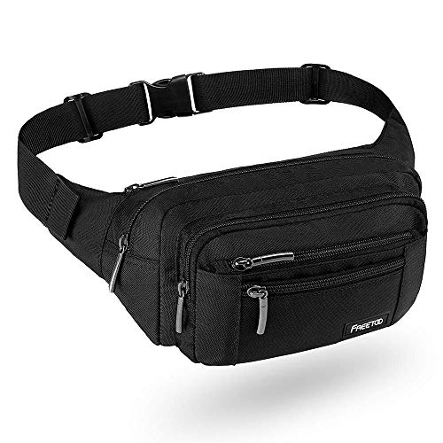 FREETOO Gürteltasche Bauchtasche Multifunktionale Hüfttasche mit Reißverschluss Geeignet für Reise Wanderung und Alle Outdoor-aktivitäten Schwarz für Damen und Herren