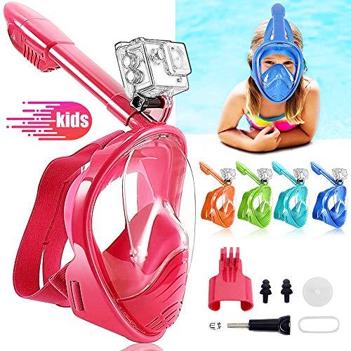 HINATAA Masque de Plongée pour Enfant, Couleur Masque Snorkeling Plein Panoramique Visage 180°Visible, Protection Anti-Fog Anti-Fuite Sécuritaire Compatible GoPro, pour Enfants 4-12 Ans (Rouge)