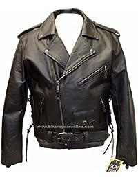 Dealer Leather Los Hombres de la Motocicleta Side Cordones Policía Terminator Chaqueta de Piel Negro w