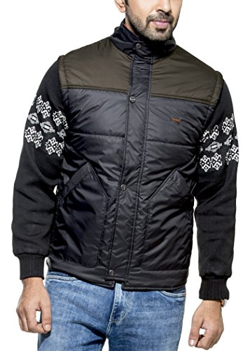 Zovi Men's Polyester Black Quilted Jacket With Knitted Dobby Sleeves (10472106601)