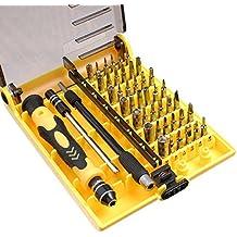 MMOBIEL Set profesional y portable de 45 piezas en 1 con herramientas de apertura, destornilladores compactos de precisión. Set con pinzas y eje de extensión para reparación (6089 A)