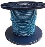 Ropeservices Royaume-Uni–Cordon de bobine de 50metre X 4mm Bleu/jaune Bungee, militaire, arrimage, bateaux, remorques