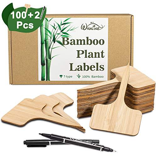 Whaline 100Stk Pflanzschilder Bambus, T-Form Pflanzenstecker Beschriften Stecketiketten mit eine Kassette, und 2Stk Marker Pen (6 x 10 cm)