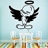 YuanMinglu Dibujos Animados Flying Duck Wall Stickers Autoadhesivo Art Deco Wall Painting Wallpaper Baby Children's Room Negro XL 58cm X 61cm