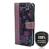 SURAZO Pearl Violett/Flowers Violett - Duo Premium Vintage Ledertasche Schutzhülle Wallet Case aus Echtesleder Farbe Mehrfarbig für Samsung Galaxy A3 2017 (A320)