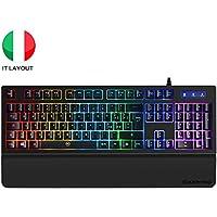 EZONTEO ITALIANA Tastiera Gaming PC, Tastiere Gioco, Tastiera Retroilluminata RGB Multicolore con Supporto Polso, Tastiera USB a Filo, Layout Italiano