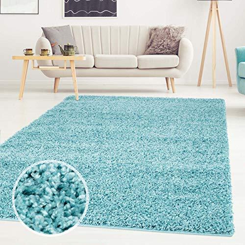 Shaggy-Teppich, Flauschiger Hochflor Wohn-Teppich, Einfarbig/Uni in Türkis für Wohnzimmer, Schlafzimmmer, Kinderzimmer, Esszimmer, Größe: 120 x 170 cm