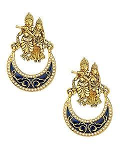 Shining Diva Pair Of Radhakrishna Earrings With Blue Enamel Work