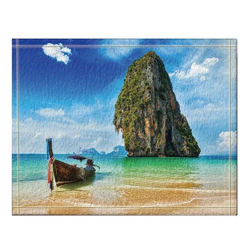 GzHQ Tropischer Urlaub Ferienboot Strand Krabi Thailand Badeteppich rutschfeste Fußbodeneingänge Outdoor Indoor Haustürmatte 60x40cm Badematte Badteppiche (Salbei Grün-teppich)
