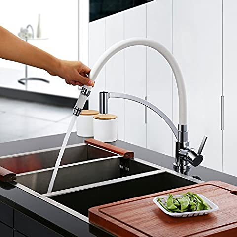 Homelody Robinet de Cuisine Robinet Evier Mitigeur avec Douchette Tuyau en Silicone Blanc Design Elégant Robinet Mitigeur pour Cuisine Evier à Double Bacs