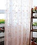 Seite Bside Rod Pocket Top LOVELY Stil Sheer Vorhänge, bestickt Ast wasserdurchlässig Fenster Behandlungen für Schlafzimmer Wohnzimmer und Kinder (1Panel, W 52x l 213,4cm, Pink), Polyester-Mischgewebe, rose, 52W x 63L Inch, 1 Panel
